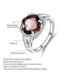 Image 3 - GEMS BALLET 5.22Ct Natural Smoky Quartz Wedding Rings Solid 925 Sterling Silver Vintage Gemstone Ring Fashion Jewelry For Women