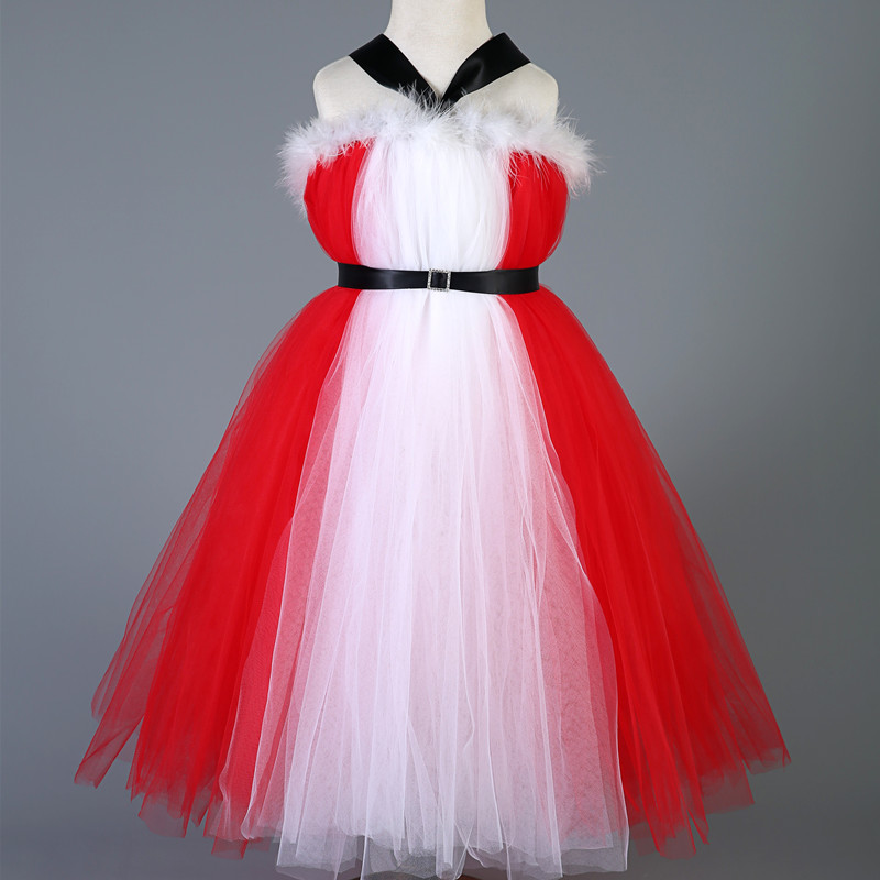 New Style Baby Girls Kids Christmas Party Dress Red Tulle Tutu Dress Princess Christmas Costume Feathers New Year  Girl Dresses 2016 new cute baby girls dress kids princess party denim tulle bow belt tutu dresses 3 8y