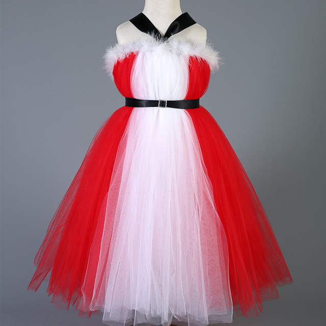 New Style Baby Girls Kids Christmas Party Dress Red Tulle Tutu Dress