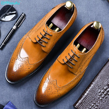 QYFCIOUFU New Arrival Formal Brogue Man Dress Shoes Genuine Leather Handmade Oxfords Luxury Brand Men's Bridal Wedding Flats