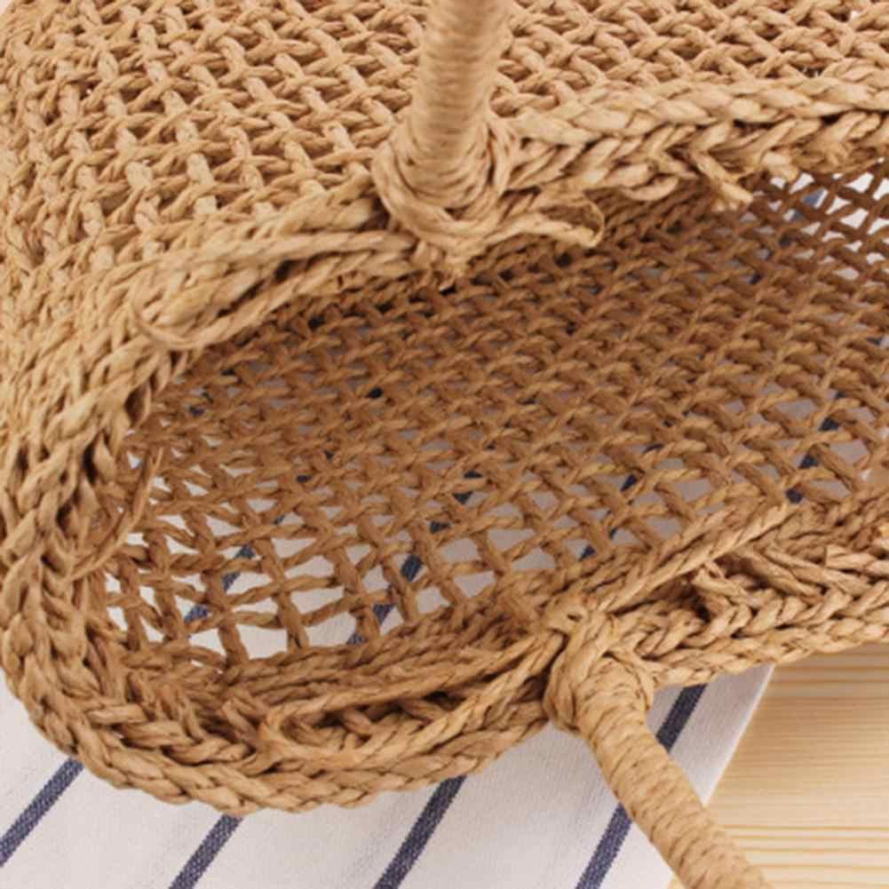 Hollow Mesh Pattern Handmade Straw Bag Casual Woven Handbags Shoulder Beach Bag Unlined Cloth