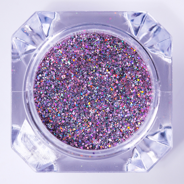 Holographic Purple Nail Glitter Laser Holo Nail Sequins Pigment Powder Hologram Paillettes Manicure Nail Dipping UV Gel Polish
