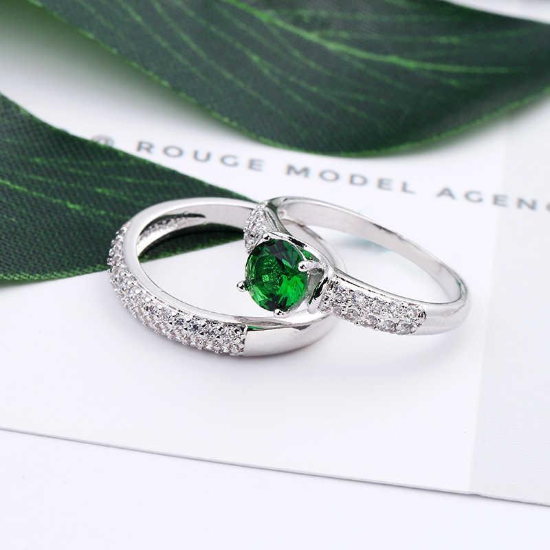 2019 очаровательное кольцо с зеленым кристаллом, цирконием, набор для женщин и мужчин, свадебные ювелирные изделия, серебро, золото, заполненный фианитом, камень рождения, обручальные кольца