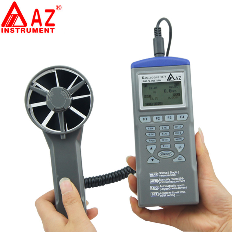 AZ9671 Handheld Hygrothermograph Air Temperature and Air Flow Meter Anemometer with Wind Speed rRange 0.6~32 ms (6)