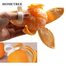 HOMETREE 2pcs/lot Creative Fruit Vegetable Tools Finger Type Open Orange Peeler Machine Orange Device Cute Kitchen Gadgets H569(China)