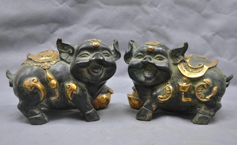 "8"" China Fengshui Bronze Auspicious Wealth Animal Ruyi Pig Hog Statue A Pair statue animal statue china statue bronze - title="