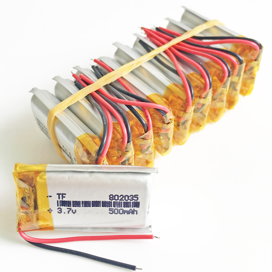 Atacado 10 pcs 3.7 V 500 mAh 802035 De Polímero De Lítio LiPo Bateria Recarregável Para Mp3 Mp4 PAD DVD DIY E-book bluetooth