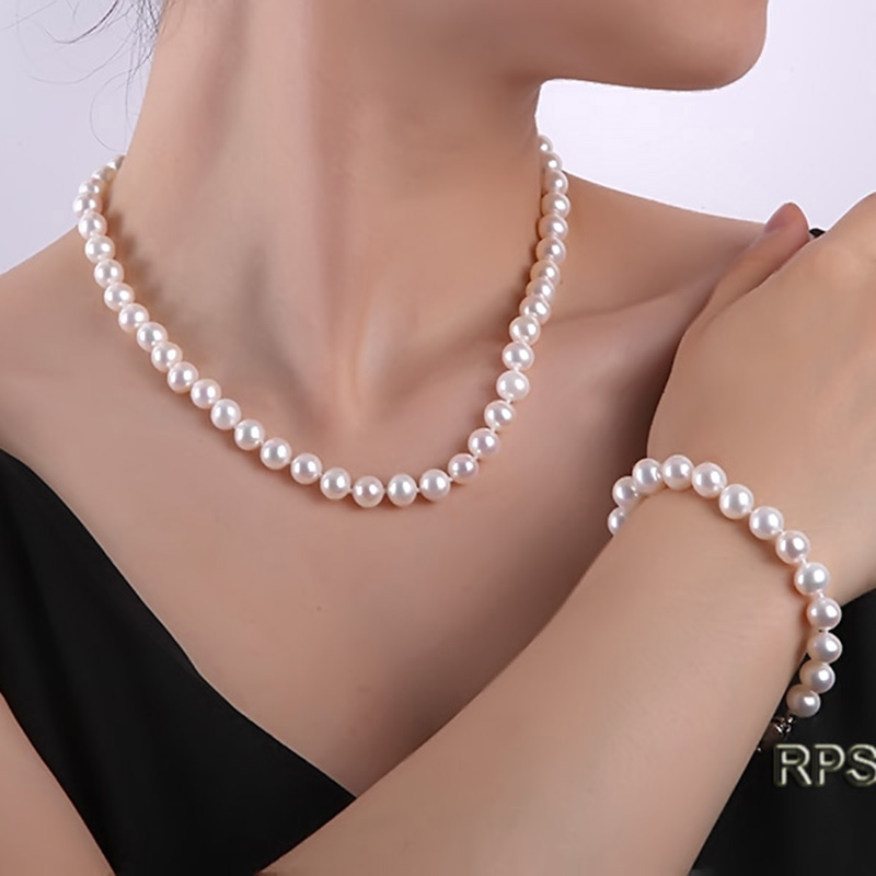 JYX Fashion Pearl Jewelry Set Pearl Set Necklace and bracelets 9-10mm White Freshwater Pearl Women Necklaces and Bracelet elegant rhinestoned bowknot three layered faux pearl necklace and bracelet for women