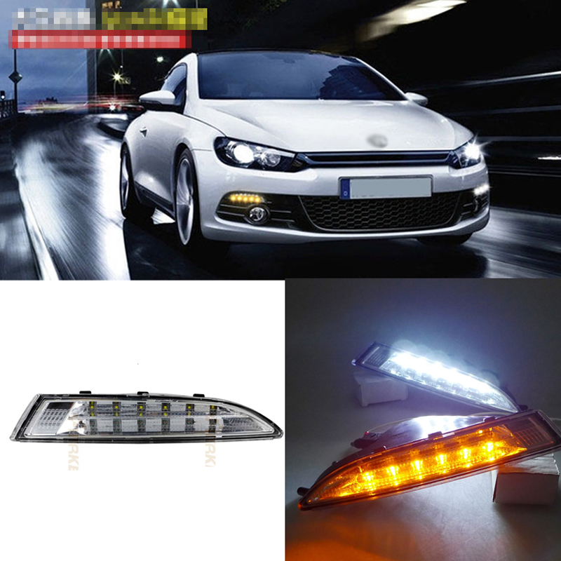 Ownsun New Updated LED Daytime Running Lights DRL With Yellow Turn Signal For VW Scirocco 2009-2014 1set car accessories daytime running lights with yellow turn signals auto led drl for volkswagen vw scirocco 2010 2012 2013 2014