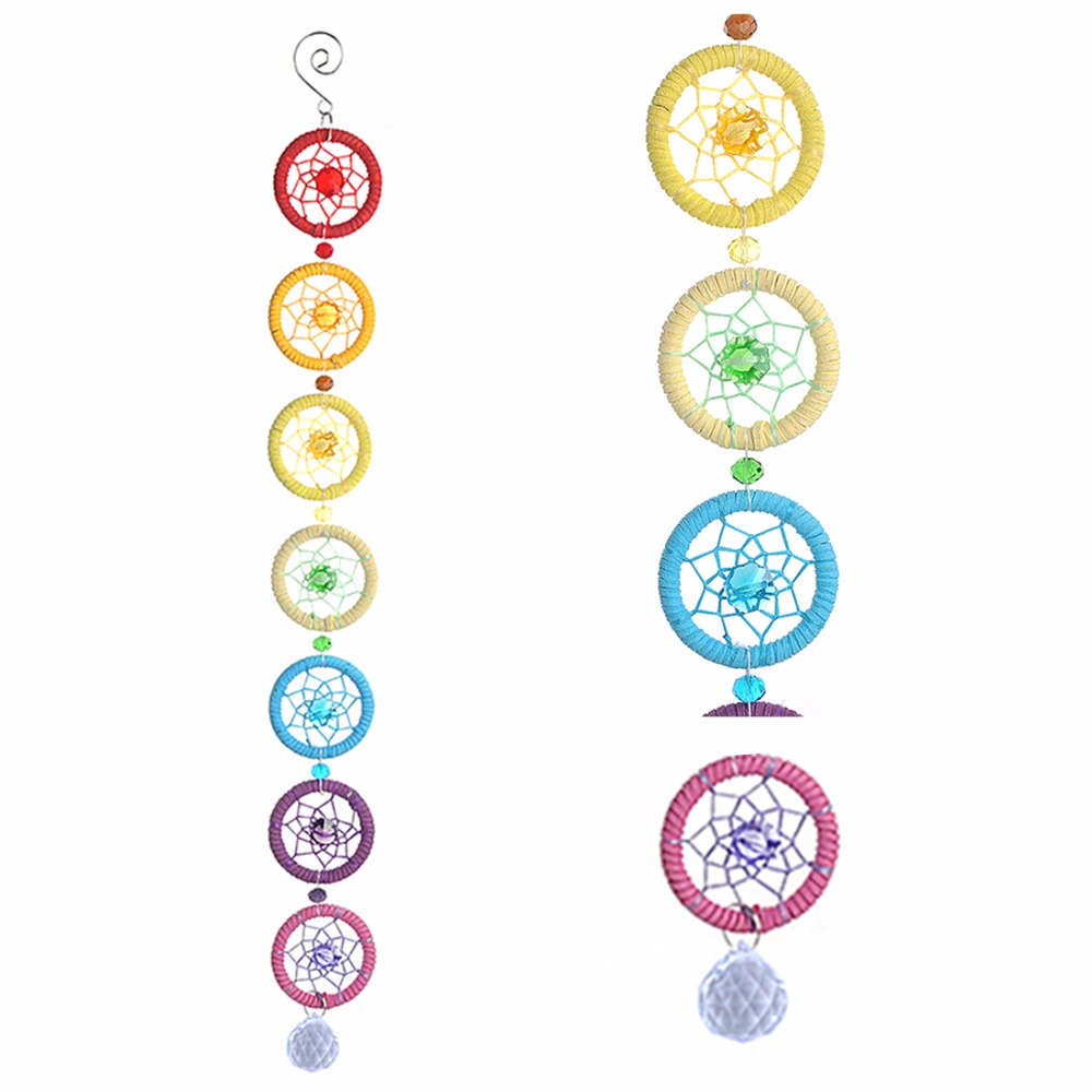 Chakra Dream Catcher Stenske viseče dekoracije Ornament za Car Party Home Decor 18,5 * 2 palcev