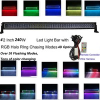 Honzdda 240W 42Inch RGB Halo Led Light Bar 4d 36 Falshing Modes Chaser Tons of Color Changing Led Bar Offroad Free Wire Harness