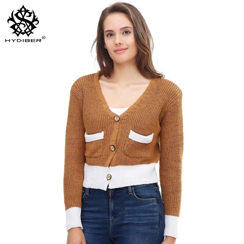 hydiber 2018 New Arrival Fashion V-neck Women Short Knitting Cardigans for Ladies Fashion Hot Long Sleeve Sweater Tops Coats