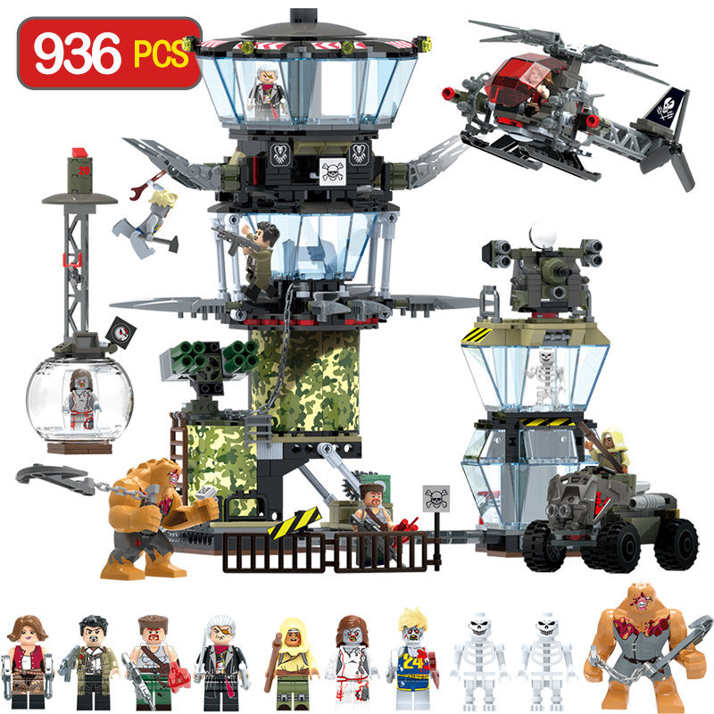 Swat Team Technik Series Blocks LegoINGLYS Marvel Policeman Command Center Mini Action Figures Allen Bricks Toys For Children цена
