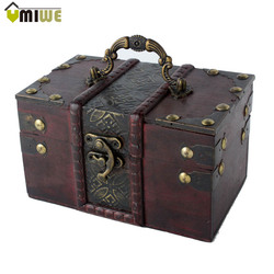 Umiwe Women Brown Retro Old Time Stye Wooden Vintage Jewelry Gift Box Case With Handle Necklace Rings Earrings Storage Case Box