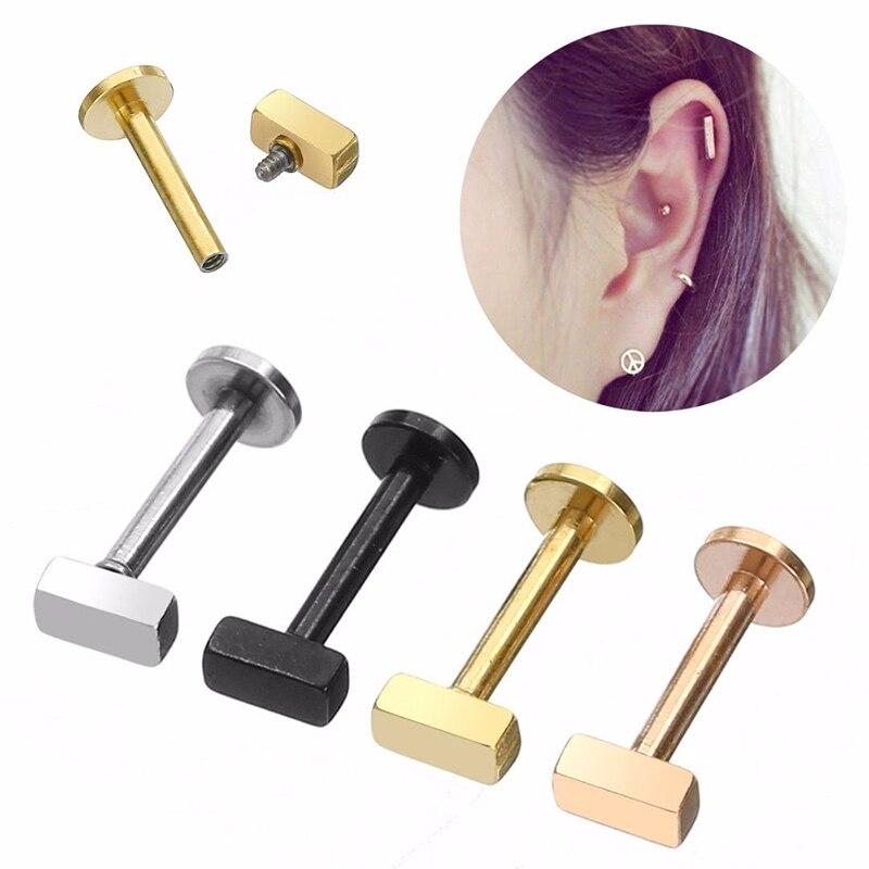 Sale 1PC Heart Piercing Ear Earrings For Women Men Stainless Steel Labret Cartilage Barbell
