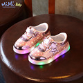 17 Spring Baby Shoes for Girl Glowing Sneakers with Light Soles Led Light Luminous Casual Star Printing Leather Children's Shoes