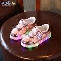17 del resorte del bebé shoes para la muchacha brillante suelas de zapatillas con luz led luminoso de la estrella ocasional de impresión de cuero de los niños shoes
