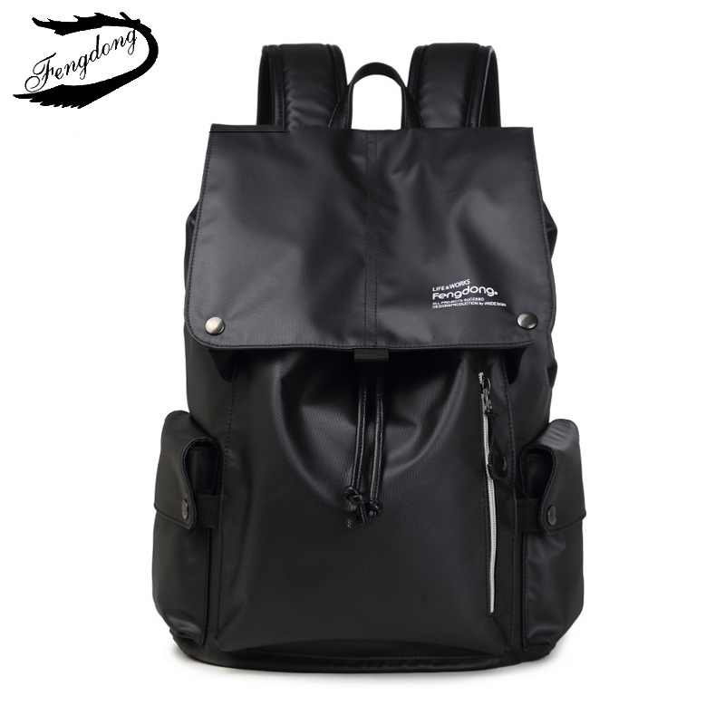 Fengdong 2018 Men Backpack College Students Travel Bag Waterproof External Backpack Male Mochila Bagpack Pack Design Anti Theft-in Backpacks from Luggage & Bags    1