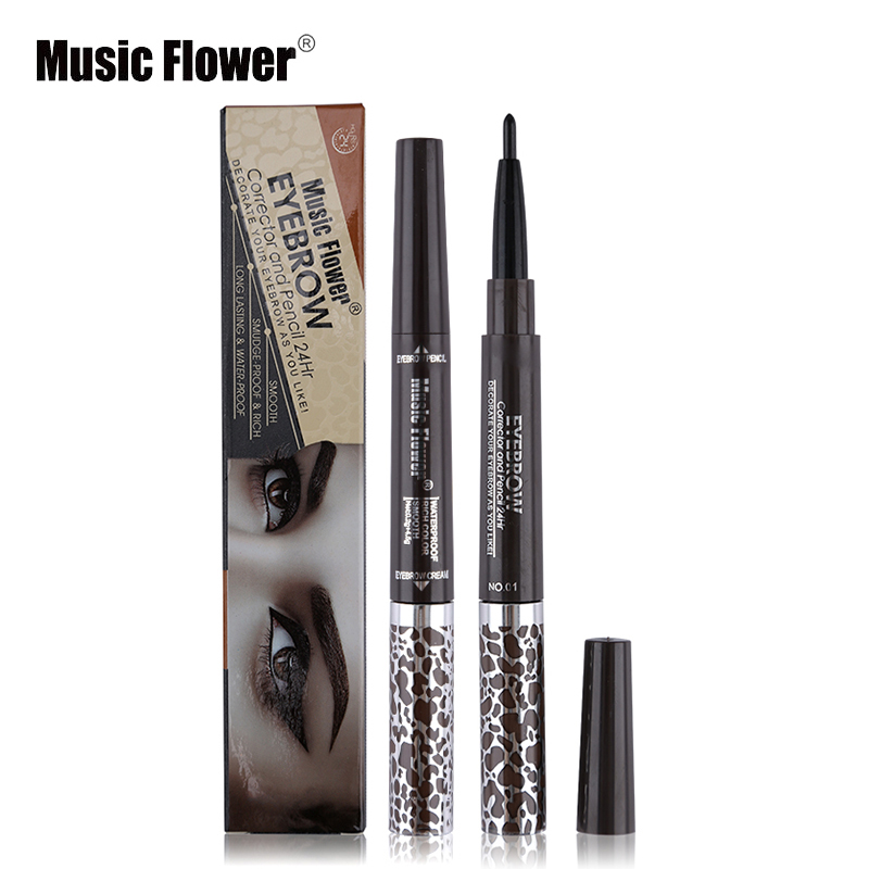 Music Flower 1PC Double-end Vodotěsné černé obočí Pencil mix 3 Colours Eyebrow Cream Mascara Gel Pro Make-up obočí Set