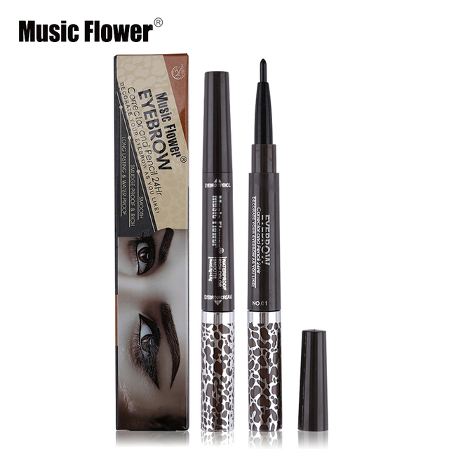 Music Flower 1pc Double End Waterproof Black Eyebrow Pencil Mix 3