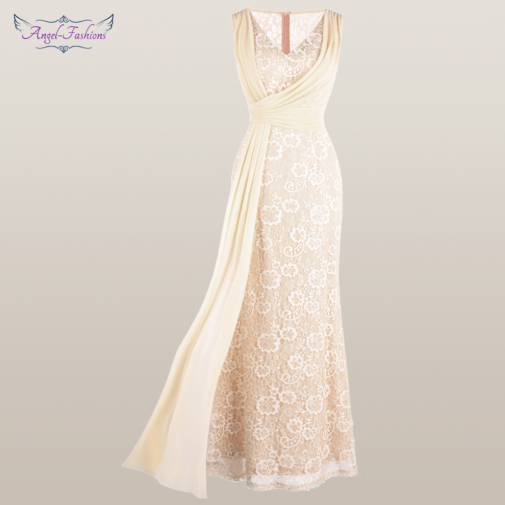 Angel-fashions Women's V Neck Lace   Evening     Dress   Pleated Ribbon Mermaid Party Gown Apricot 428