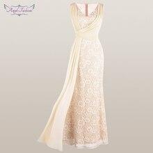 Anjo fashions feminino v pescoço renda vestido de noite plissado fita sereia vestido de festa damasco 428 418