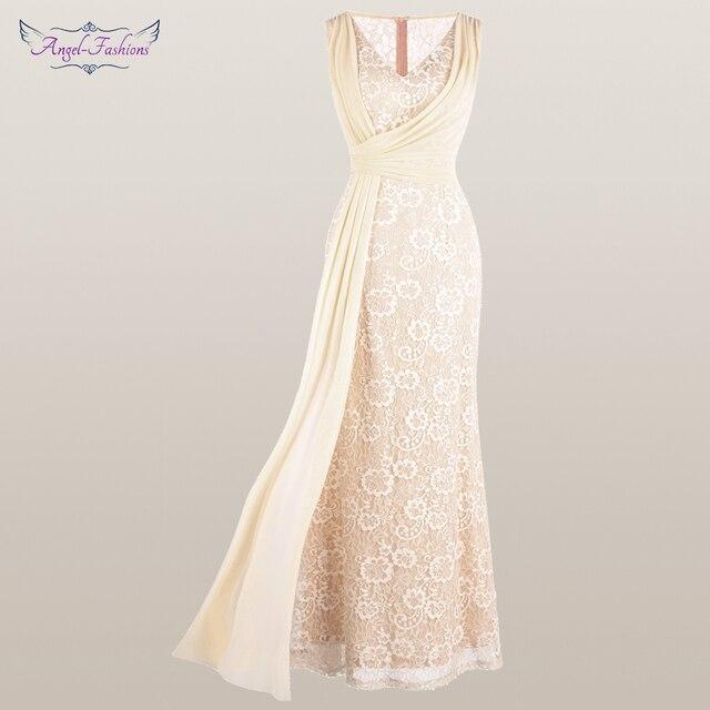 מלאך אופנת נשים של V צוואר תחרה שמלת ערב קפלים רצועת כלים בת ים המפלגה שמלת משמש 428 418