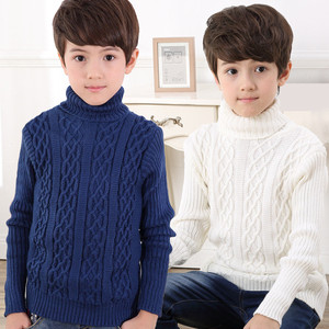 Image 2 - 2020 New Autumn Winter Boys Sweater Long Sleeved Round Collar Pullover Sweater Pure Color Knitting Fashion Children Clothes