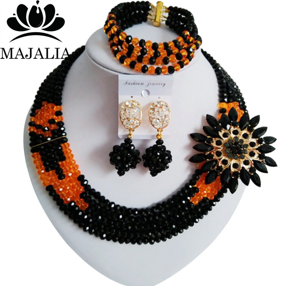 2017 Fashion Nigeria Wedding african beads jewelry set black Crystal necklace bracelet Bridal Jewelry sets Free shipping WIN027