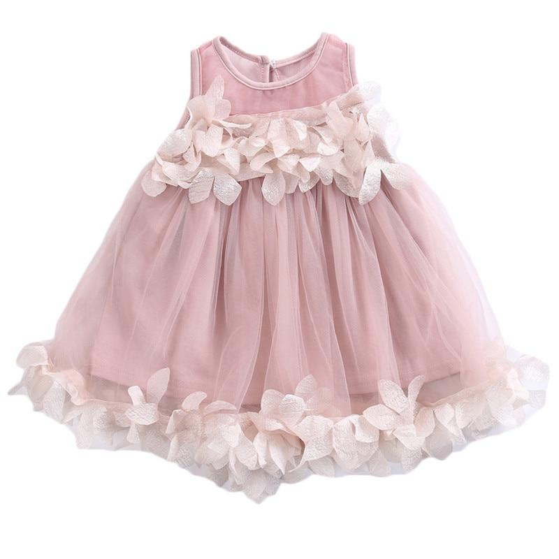 цена на Cute Kids Girls Princess Pink White Dresses Pageant Toddler Kids Baby Girl Sleeveless Flower Tulle Petal Party Ball Gown Dresses