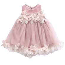 Kids Girls Princess Pink White Dresses Pageant Toddler Kids Baby Girl Sleeveless Flower Tulle Petal Party
