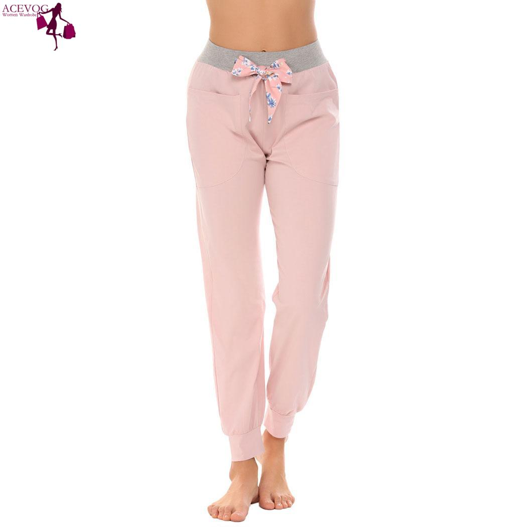 ACEVOG Elastic Lounge Fashion women love cute Pajama Bottom Pants Long Waist Women