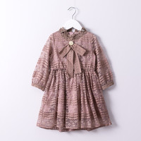 Hurave 2018 Summer Baby Girl Solid Lace Bow Dress Clothes Children Long Sleeve Mesh Clothing Kids