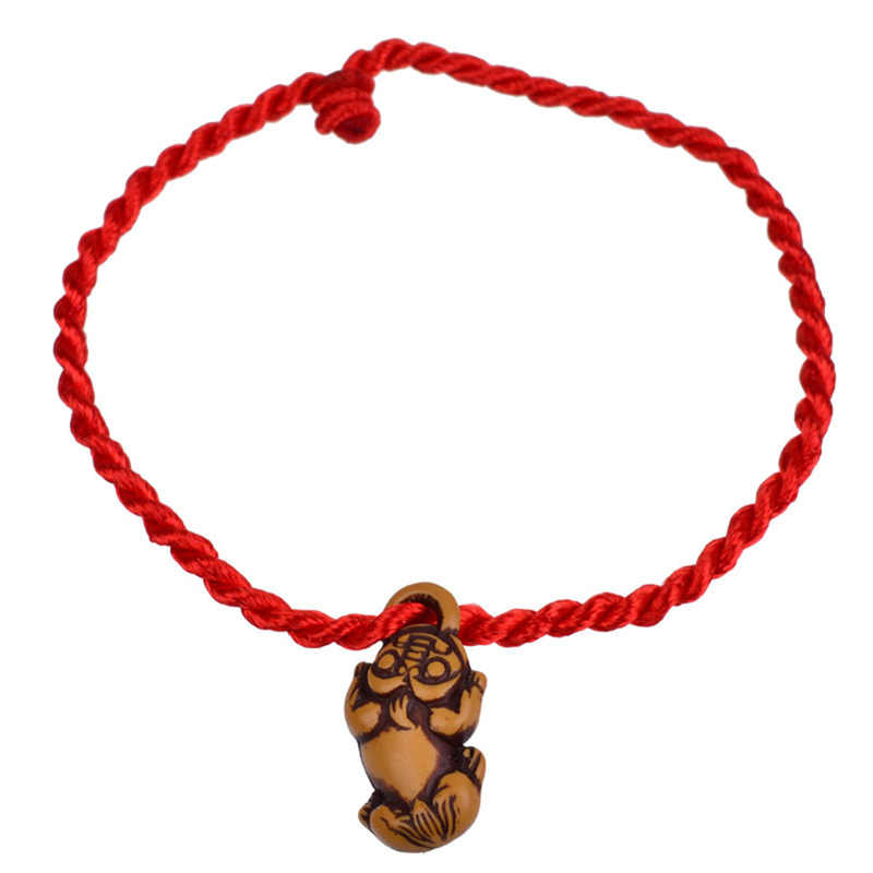 Hot Sale 1PC Women Girls Chinese Knot Heart Leaf Rope Chain Lucky Charm Decent Red Rope Bracelets Animal Pandant Jewelry Gift