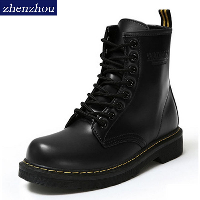 Free shipping 2017 Autumn and winter waterproof Leather boots Martin boots British Women's shoes with winter boots