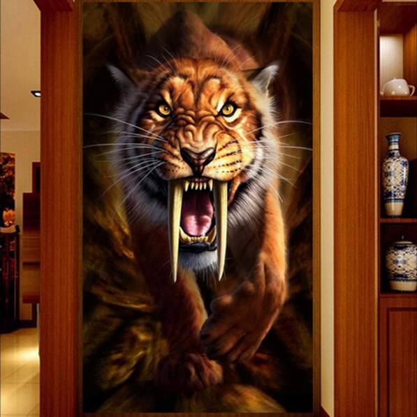 Free shipping 3d animal ferocious tiger wallpaper large ...