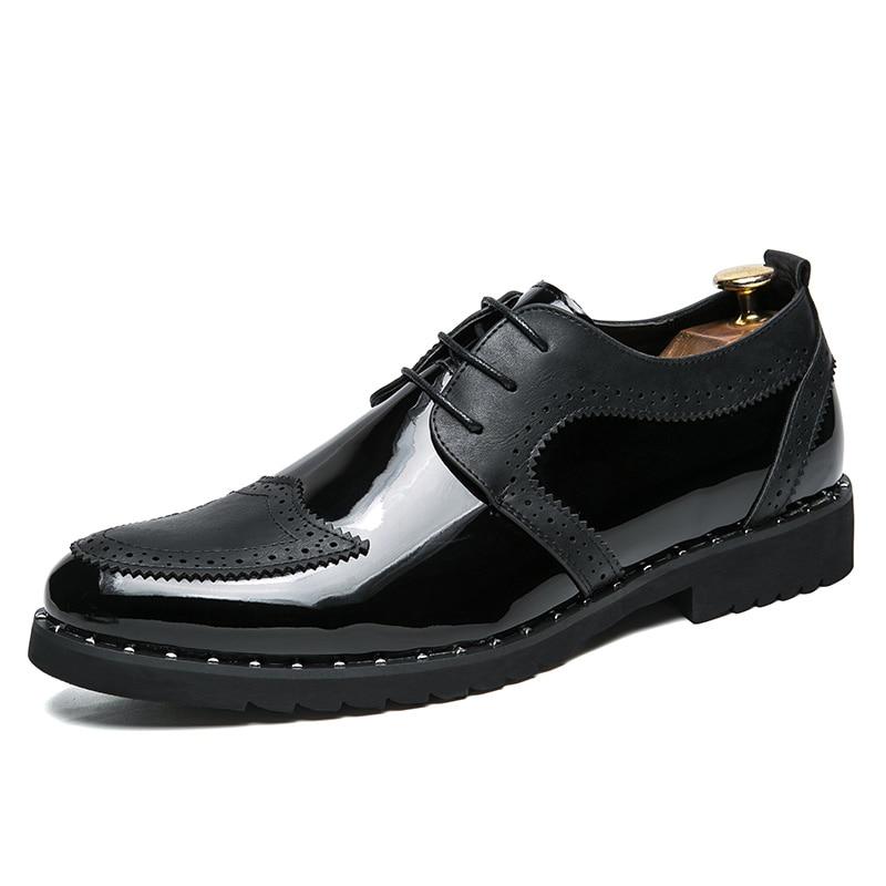 Punta Yoylap Gran Negro 38 Casual Redonda Británico Zapatos Vintage 48 Bullock Tamaño oro Oxford Hombre Estilo plata De Tallado Derby Marca Oxfords zrBqz4