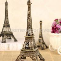 10Pcs Bronze Eiffel Tower Figurine Statue Sculpture Tabletop Stand Art Display Shelf Stand Model 15cm