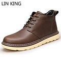 LIN KING New Arrival Men Martin Boots High Top Lace Up Thick Sole Ankle Boots Round Toe Platform Shoes Male Warm Winter Boots
