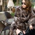 La mejor calidad nueva moda de invierno de piel de Zorro abrigos mujer abrigo de piel real de las mujeres chaleco de piel de zorro plateado natural A #11