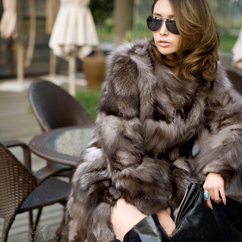 Meilleure qualité nouvelle mode en hiver manteaux de fourrure de Renard femme véritable manteau de fourrure femmes gilet de fourrure de Renard en argent naturel manteau #11