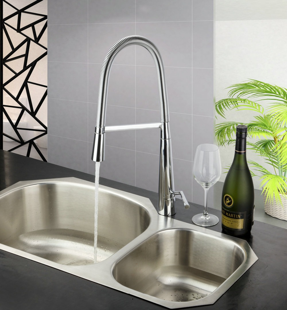 Shivers 8554 Kitchen Swivel Spray Pull Out Down Spout 8554 Chrome Brass Single Handle Deck Mounted Water Sink ,Mixer Tap Faucet kitchen chrome plated brass faucet single handle pull out pull down sink mixer hot and cold tap modern design