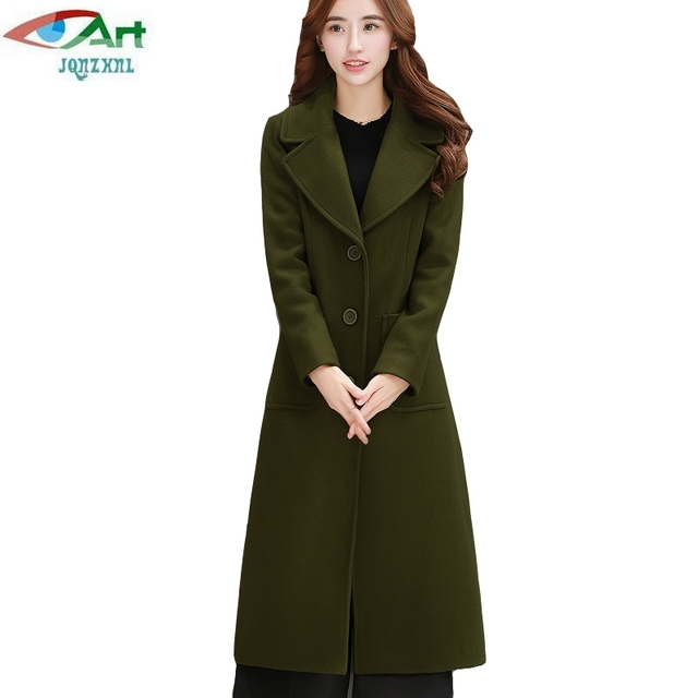 03b30a10a566 JQNZHNL 2018 New Spring Coats Women Woolen Jackets Solid Color Turn ...