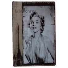 Marilyn Monroe retro iron painting Star beauty Painting Handpainted Oil Painting Living Room Home Wall Decor Artwork 20*30cm D1