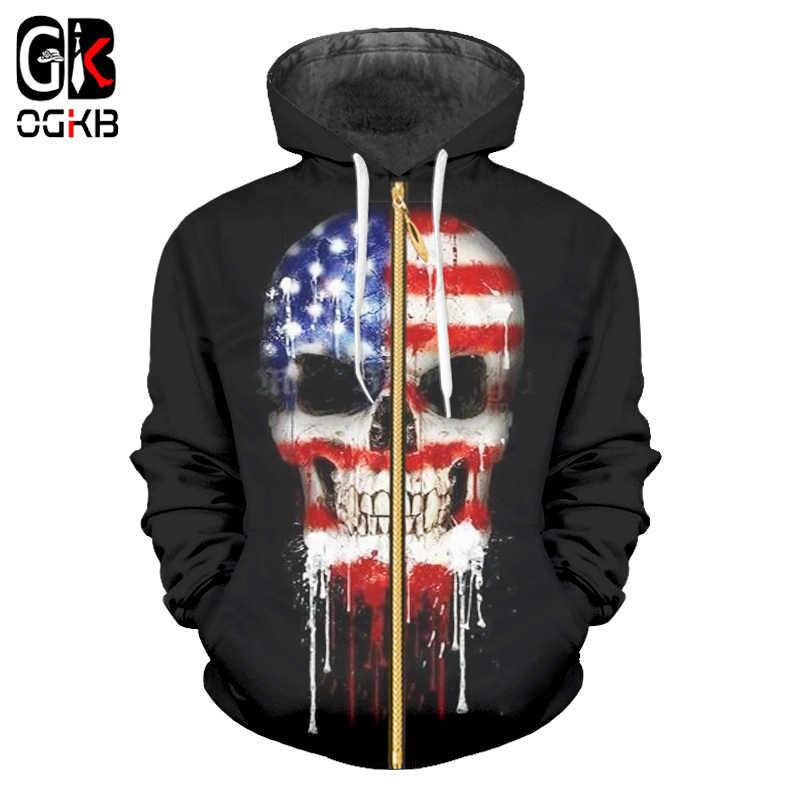 OGKB толстовки на молнии с американским флагом мужские толстовки с 3D принтом черепа Толстовка с капюшоном Мужская Хип-Хоп Верхняя одежда с длинными рукавами Мужская брендовая одежда