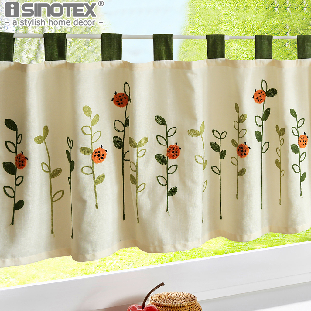 coffee roman curtain window valance half curtain leaves wool embroidery small panel drape tab tape for the kitchen cabinet