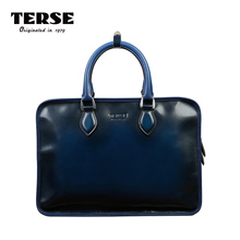 TERSE_Fashion Men Tote Bag Casual Briefcase Business Shoulder Genuine Leather High Quality Messenger Bags Laptop Handbag DIY