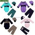 LittleSpring Baby girls 3pcs set infant girl spring fall 3pc sets kids cotton clothing set leopard dot lace girl infant suit