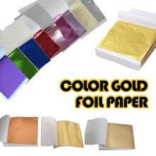 100 шт 9x9 см DIY крафт-бумага для творчества имитация золотого листа Серебряный Медный Лист листья листы фольги бумага для золочения ремесло украшения