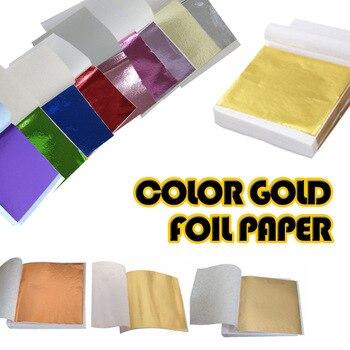 100 sztuk 9x9cm sztuka diy papier typu kraft imitacja złota liść Sliver miedź liść liście arkusze folia papier do złocenia Craft dekoracji